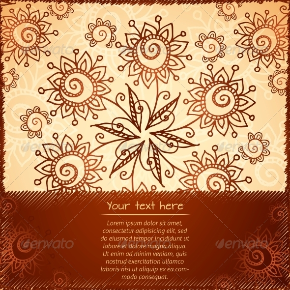 GraphicRiver Ornate Vector Doodle Flowers Background 4377566