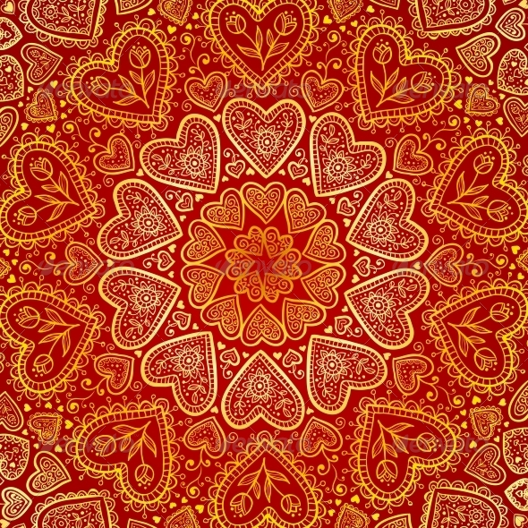 GraphicRiver Ornamental Round Hearts Pattern in Indian Style 4377950