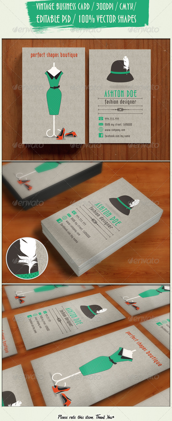 GraphicRiver Retro Fashion Business Card 4378242