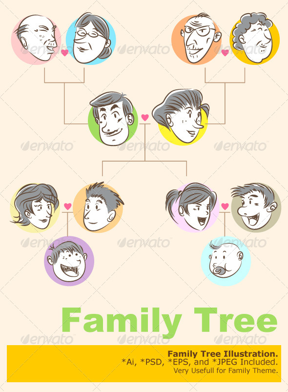 GraphicRiver Family Tree Doodle Style 4378862