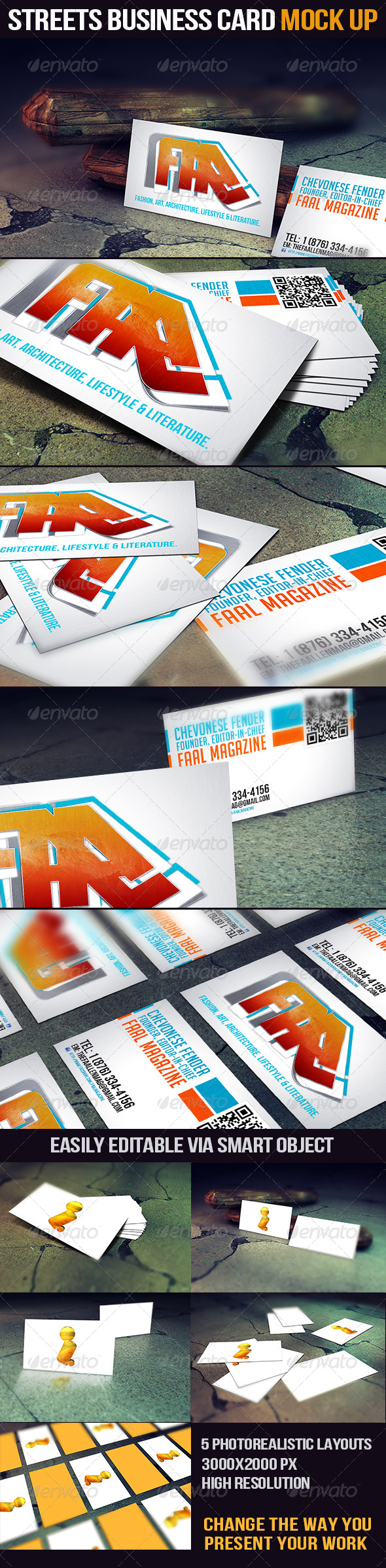 GraphicRiver Streets Business Card Mock Up 4378982