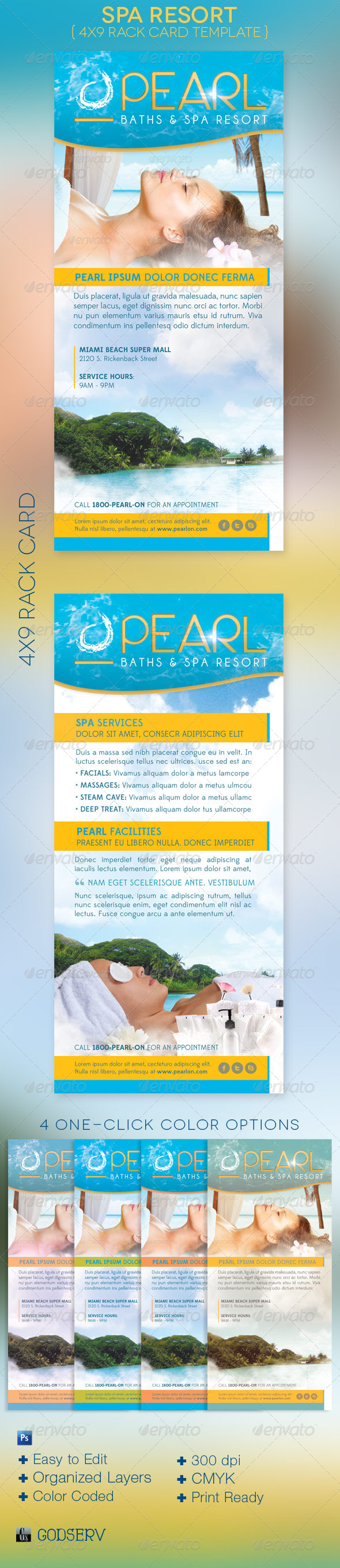 GraphicRiver Spa Resort Rack Card Template 4267426