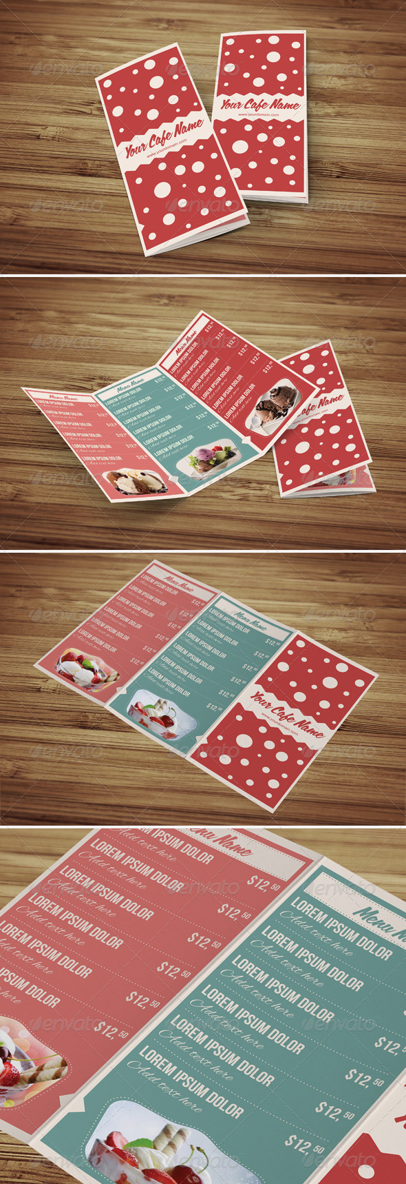 GraphicRiver Sweet Shop and Ice Cream Trifold PSD Menu Template 4379875