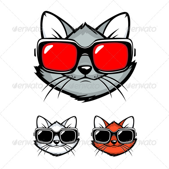 GraphicRiver Cartoon Cat Face with Sunglasses 4380269