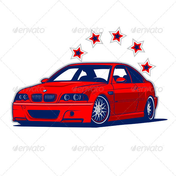 GraphicRiver Race Car and Stars 4380278
