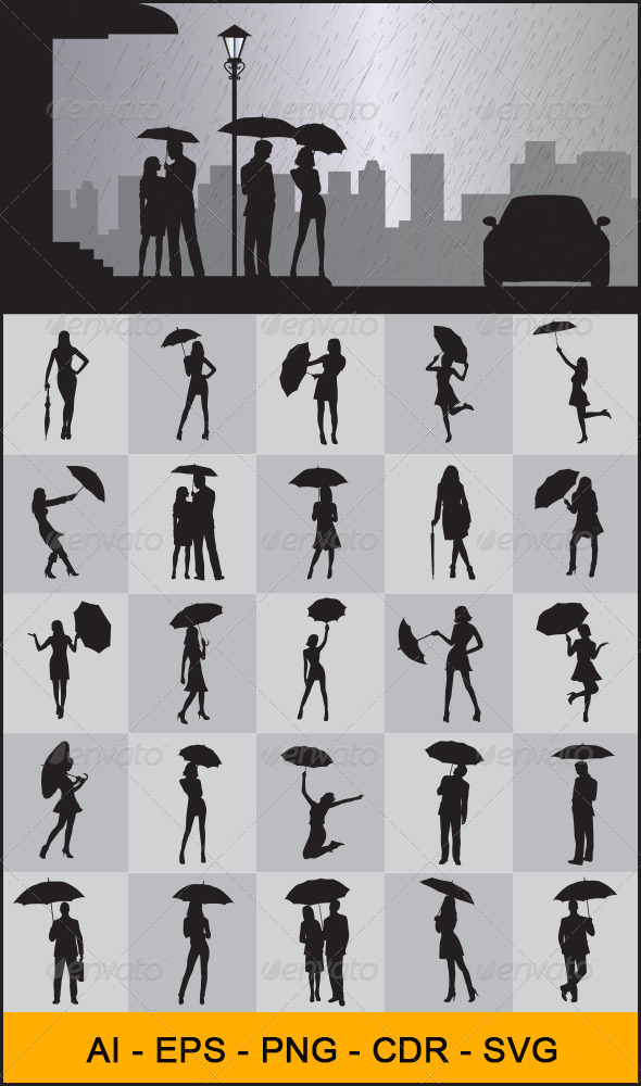 GraphicRiver People with Umbrella Silhouettes 4380305