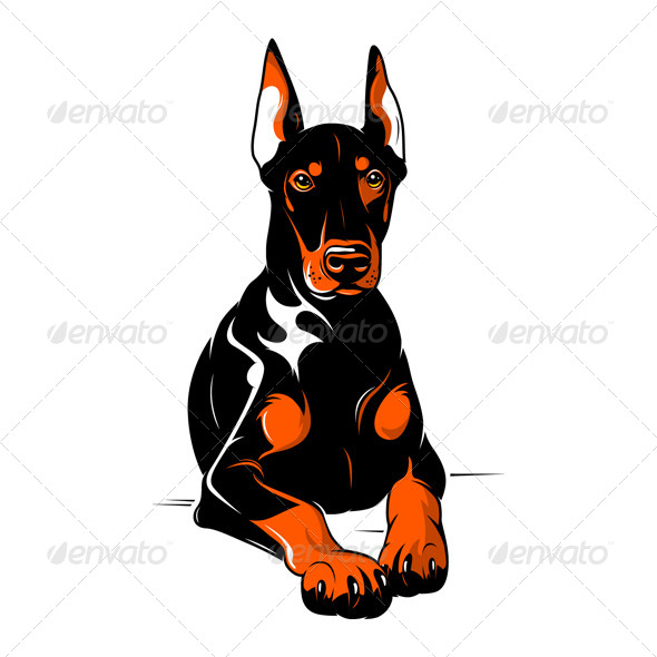 GraphicRiver Doberman Pinscher Cartoon Illustration 4380308