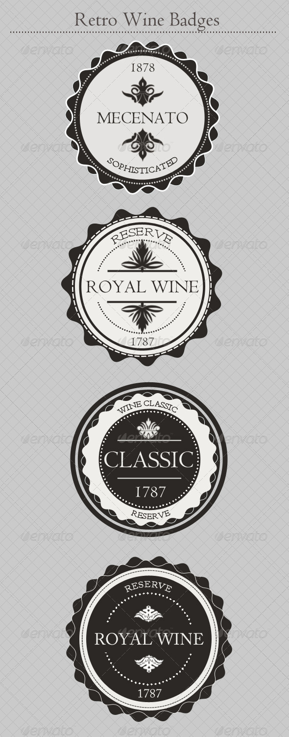 GraphicRiver Vintage Wine Badges 4317973
