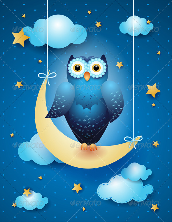 Owl and Moon - Animals Characters