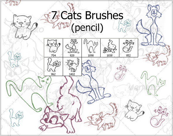 GraphicRiver 7 Cats Brushes pencil 4381476
