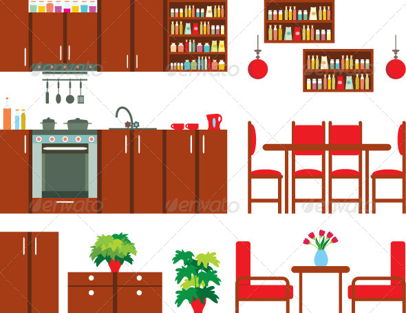 GraphicRiver Set of Kitchen Furniture 4381914