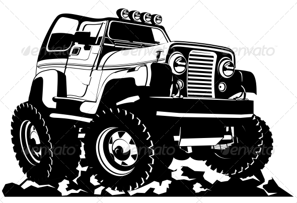 GraphicRiver Cartoon jeep 4381989