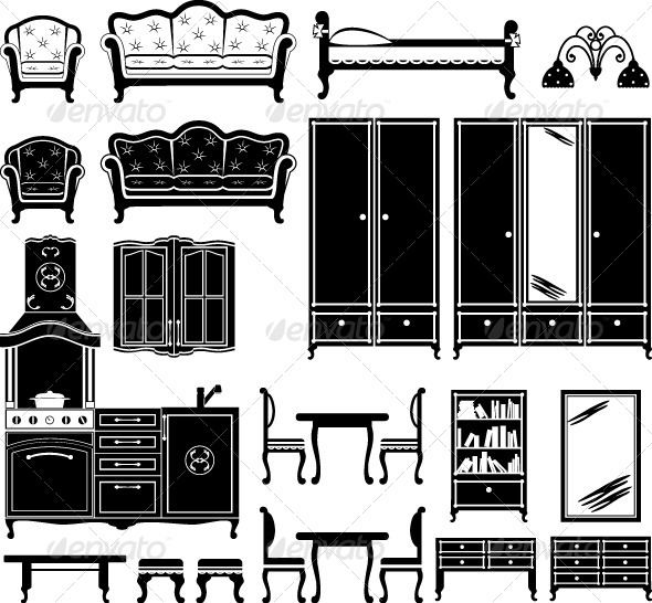 GraphicRiver Furniture and Accessories for a Room 4382004