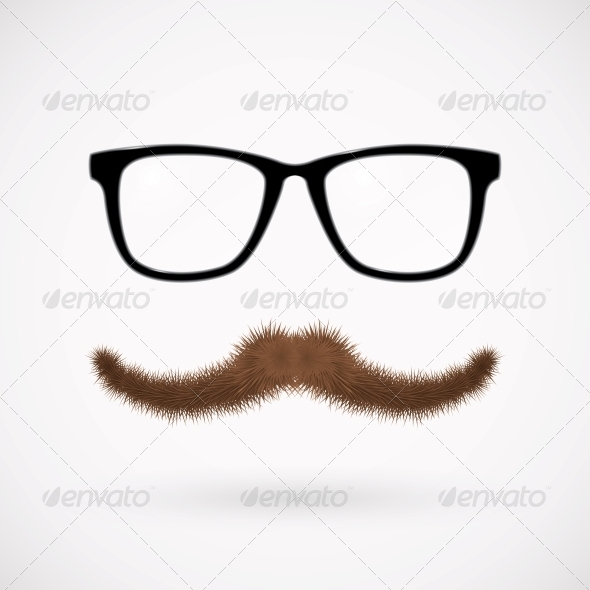 GraphicRiver Hipster Glasses and Mustache 4382390