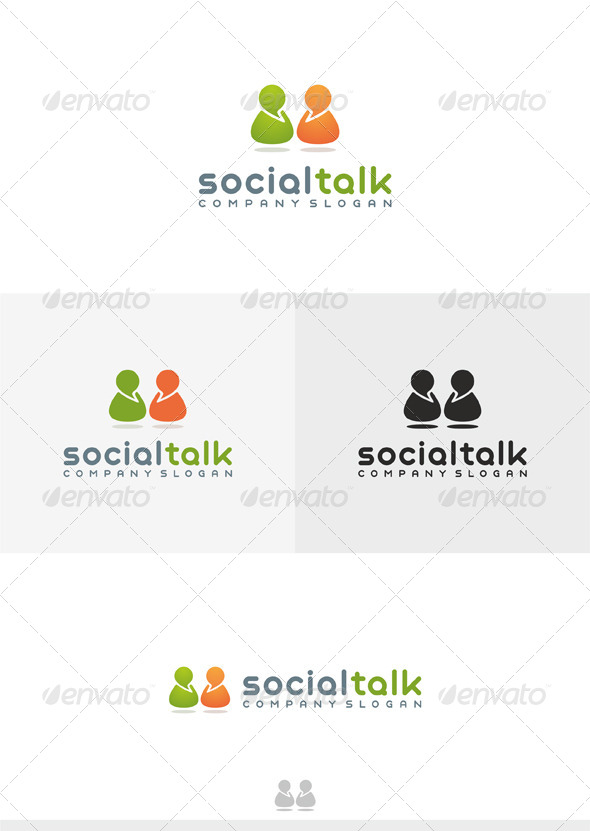 Social Talk 2 Logo - Humans Logo Templates