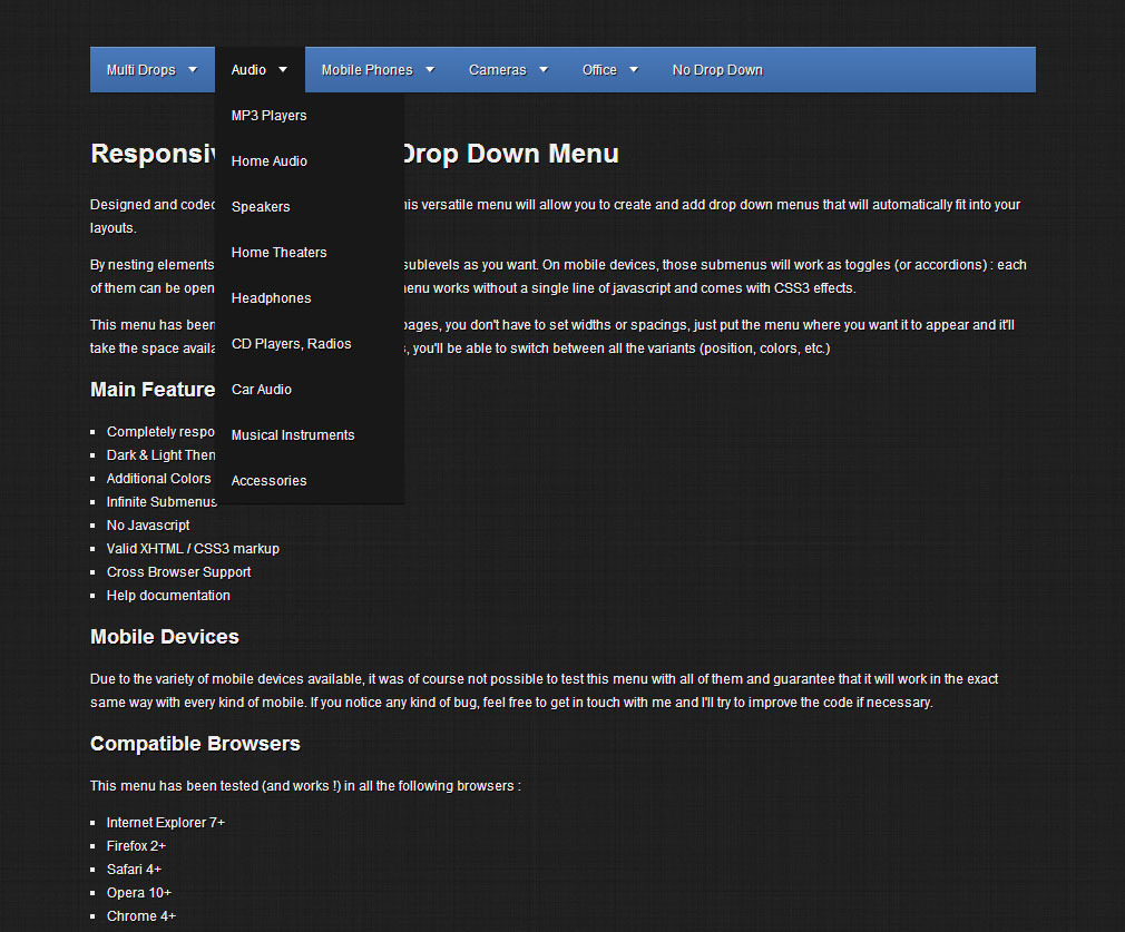 Responsive CSS3 Multi Drop Down Menu