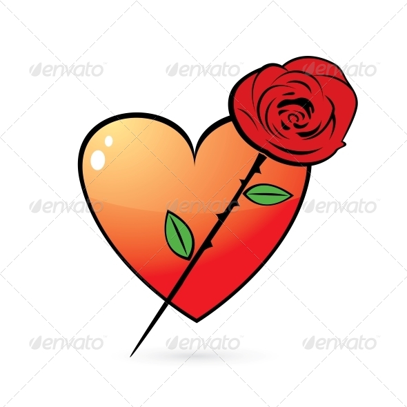 Rose and Glossy Heart Icon