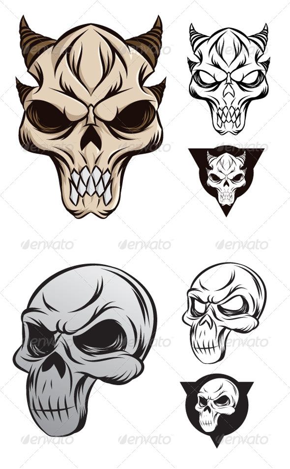 GraphicRiver Horned Skull 4382703