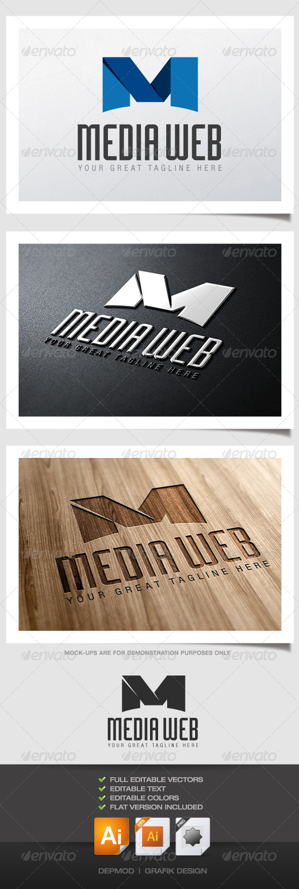 Media Web Logo - Letters Logo Templates