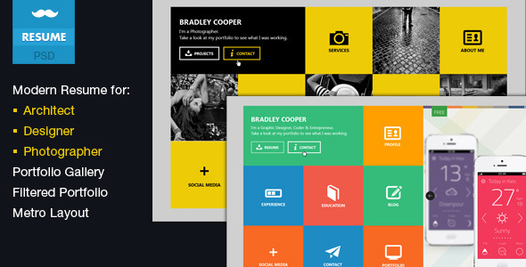 ThemeForest Cooper- Multicolor Flat Professional Resume PSD 4384479