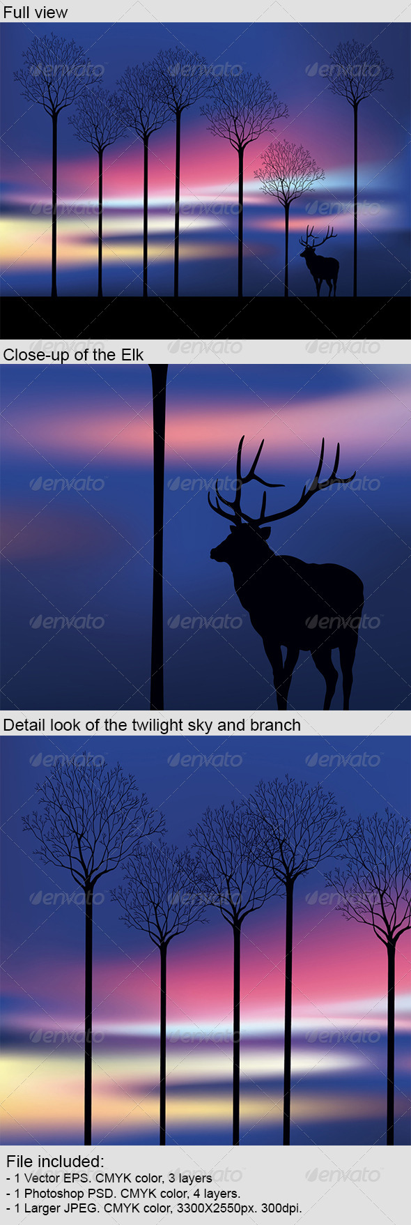 GraphicRiver Elk in the Wood at Twilight 4329177