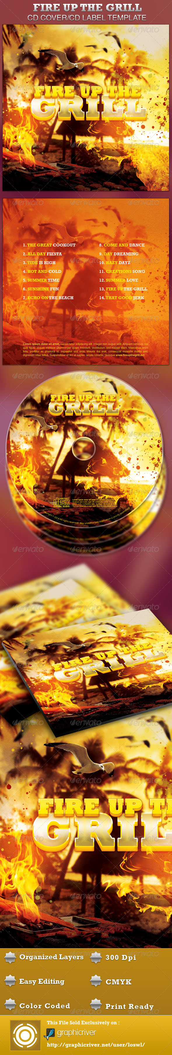 GraphicRiver Fire Up The Grill CD Artwork Template 4281064