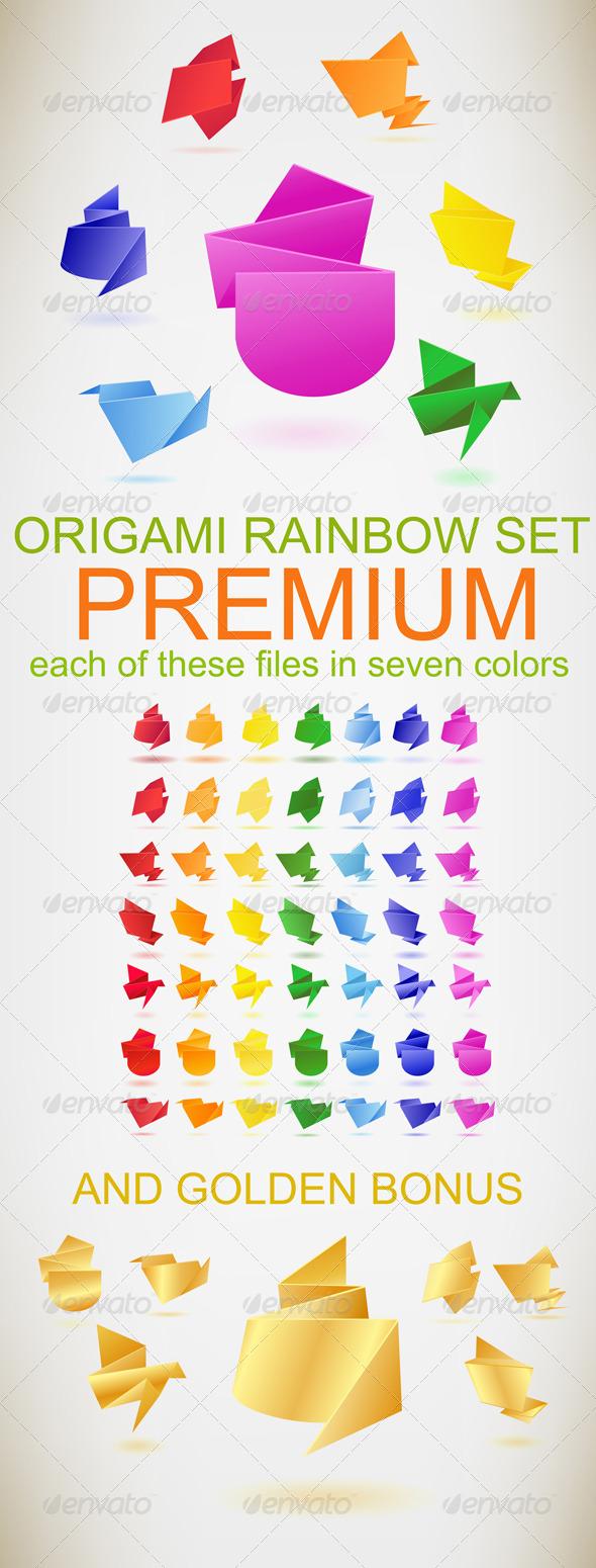 GraphicRiver Origami Premium Rainbow Set 4385597