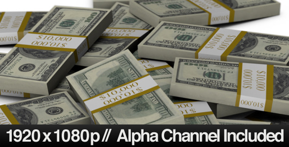 Stacks of $100 Bills Falling into a Pile & Alpha