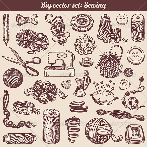 GraphicRiver Sewing and Needlework Vector Set 4386097
