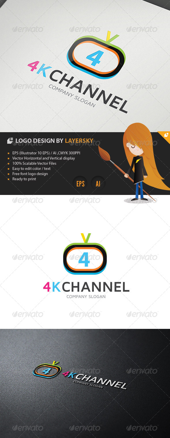 GraphicRiver 4K Television Channel Logo 4302022