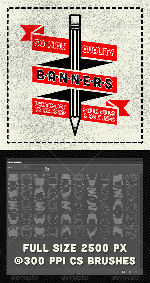 GraphicRiver 50 Photoshop Classic Banner Brushes 4387048