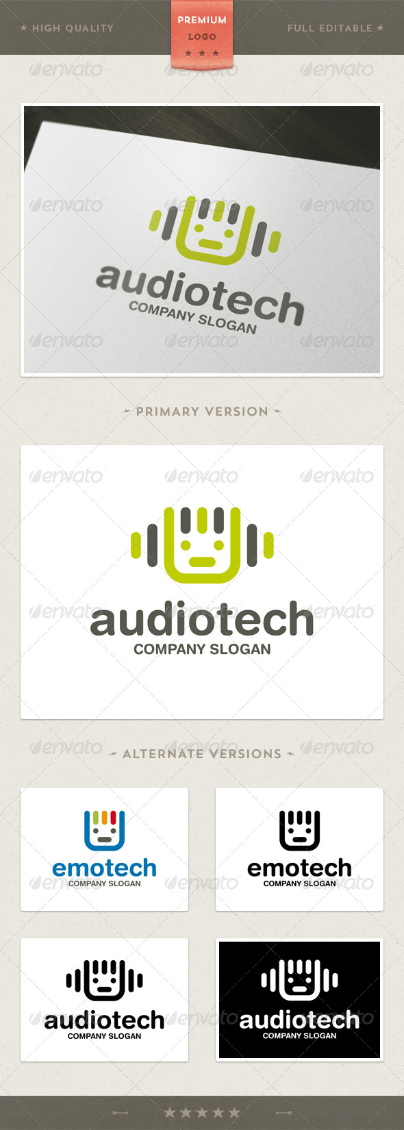 GraphicRiver Audio and Tech Mascot Logo Template 4387168