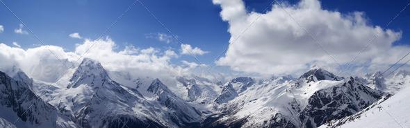 Panorama Mountains. Ski resort. - Stock Photo - Images