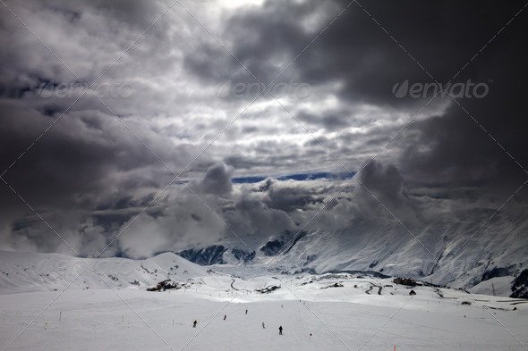 Ski slope before storm - Stock Photo - Images