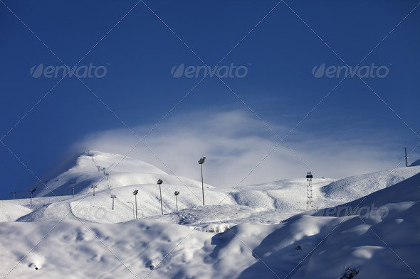 Ski slope and ropeways - Stock Photo - Images