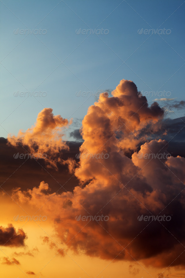 Fiery sunset over the sea - Stock Photo - Images