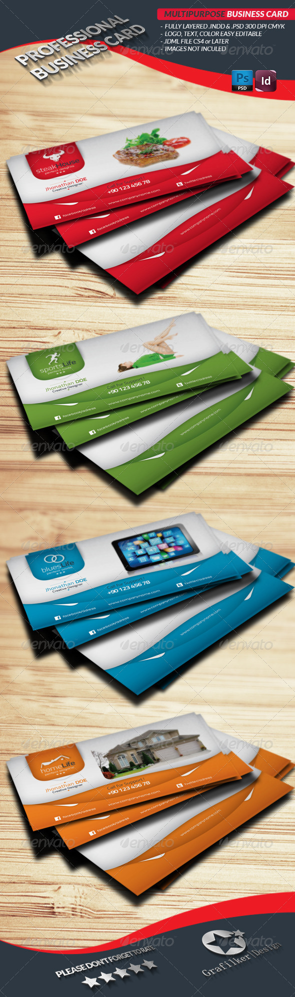 GraphicRiver Multipurpose Business Card Template 4282723