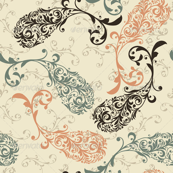 GraphicRiver Vector Seamless Winter Pattern with Paisley Orname 4389059