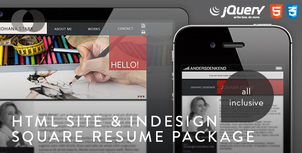ThemeForest HTML Site Square Resume Package 4361701