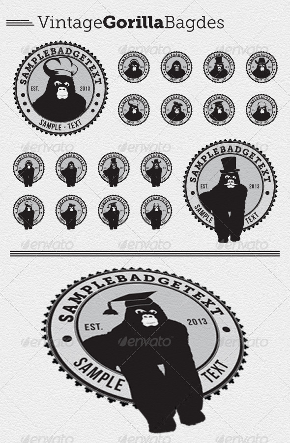 GraphicRiver 16 Vintage Gorilla Badges 4390787