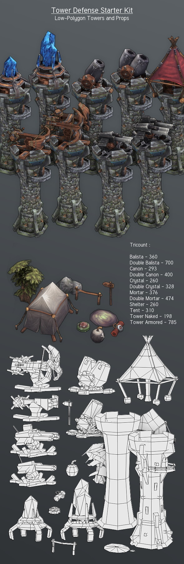 3DOcean LowPoly Tower Defense Starter Kit 4390955
