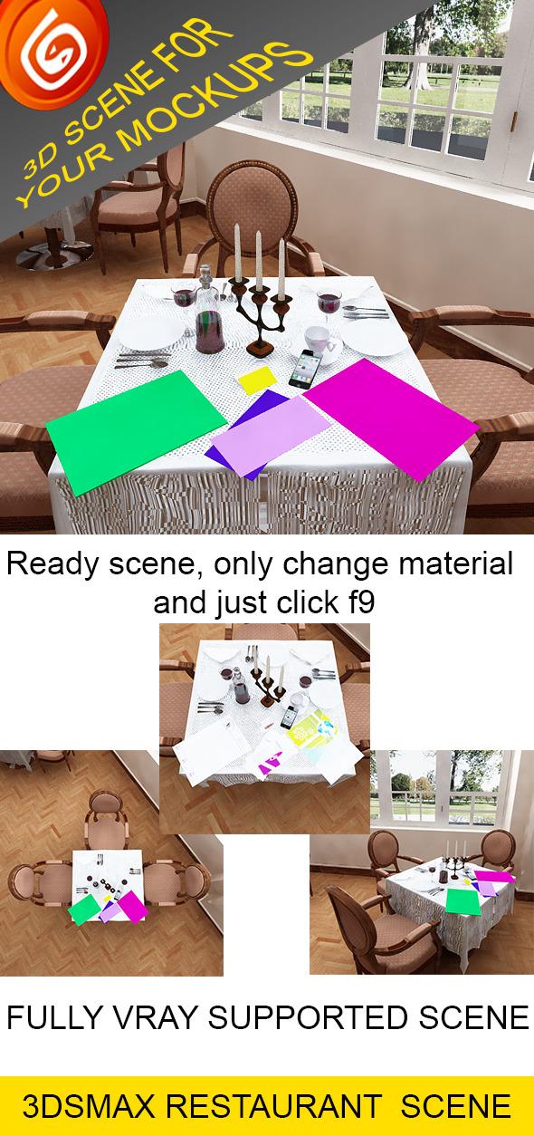 3DOcean 3D Restaurant Scene for Your Mockups 4390373