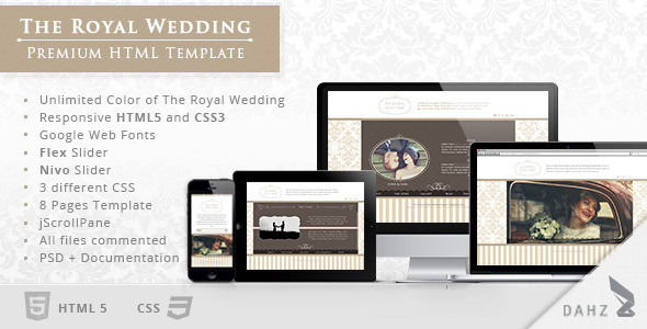 ThemeForest The Royal Wedding Premium HTML Template 4382825