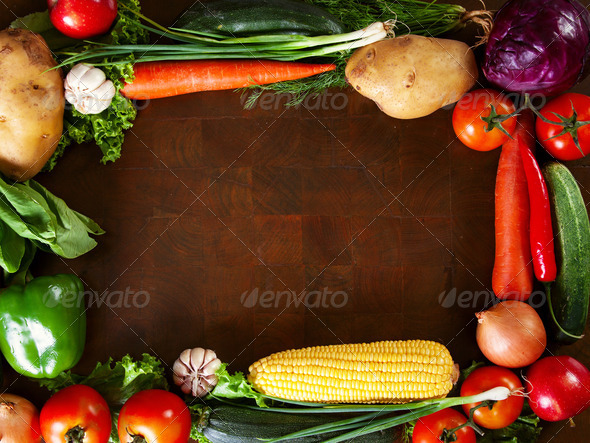 Frame Of Vegetables on a Wooden Table - Stock Photo - Images
