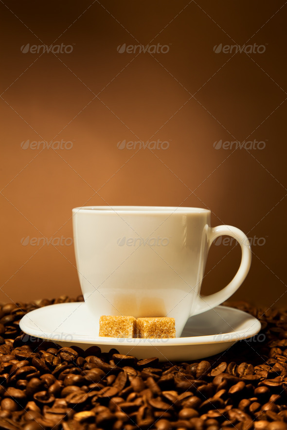 Cup Coffee And  Beans - Stock Photo - Images