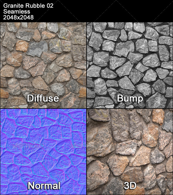 3DOcean Granite Rubble Texture Tileable 02 4393090