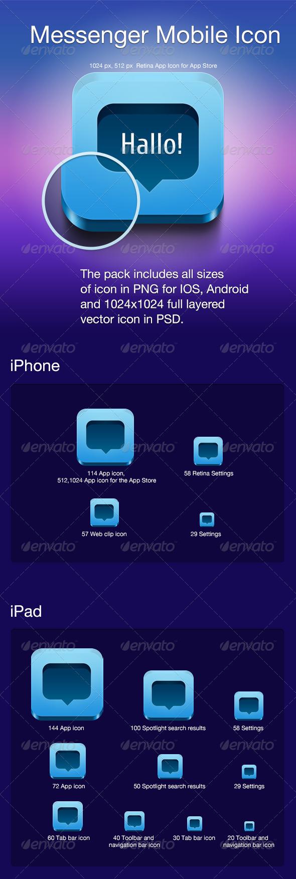 GraphicRiver Messenger Mobile Icon 4255546