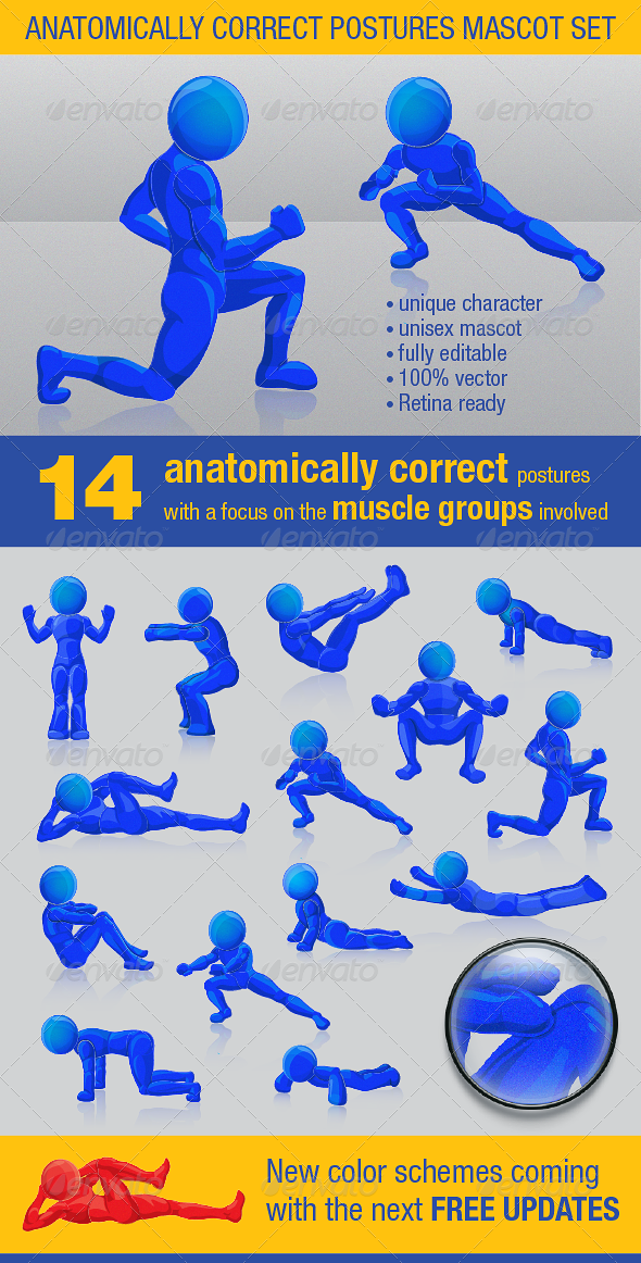Anatomically Correct Postures Mascot Set