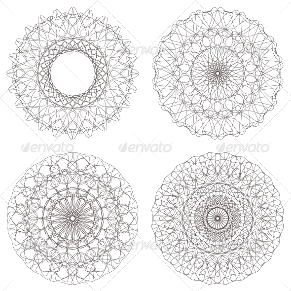GraphicRiver Set of Vector Guilloche Rosettes 4395669