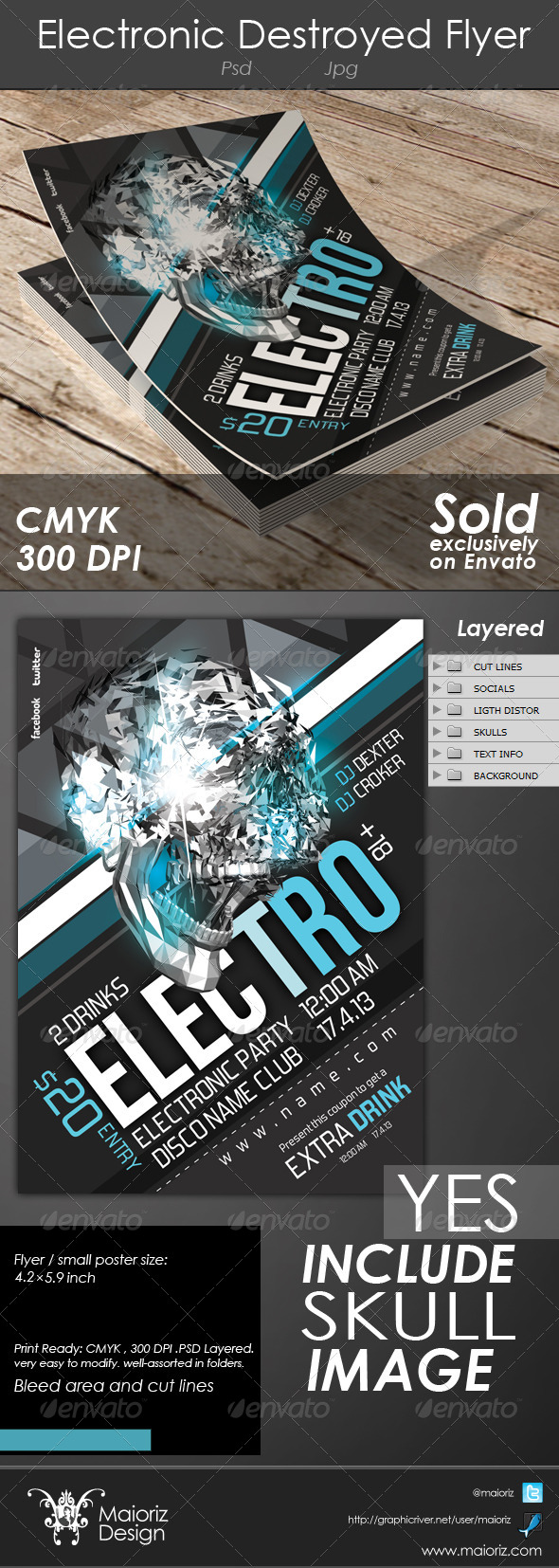Electronic Destroyed Flyer - Clubs & Parties Events